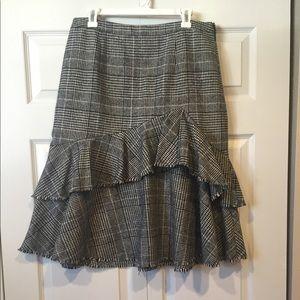 Halogen ruffle plaid A line skirt
